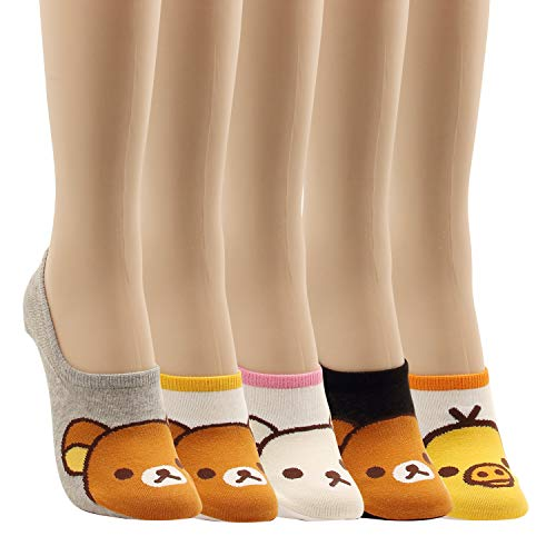 - Women Low Cut Animal Socks Little Rabbit Bear Duck Fun Low Liner No Show Craze For Teen Non Slip 5pairs (Cartoon-5pairs)