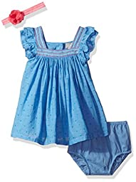 The Children\'s Place Baby Girls\' Dot Dress, Chambray, 9-12MOS