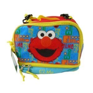 """Sesame Street 2-Compartment Elmo 9X 7.5X 5.5"""" Lunch Bag with Shoulder Strap"""