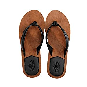 AX BOXING Women Flip Flops Chic Simple PU Leather Non-Slip Thong Sandals