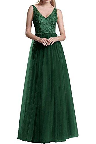 Spitze Damen Brautmutterkleider La Promkleider Ausschnitt V Marie Abendkleider Dunkel Gruen Braut Langes cWrcAf