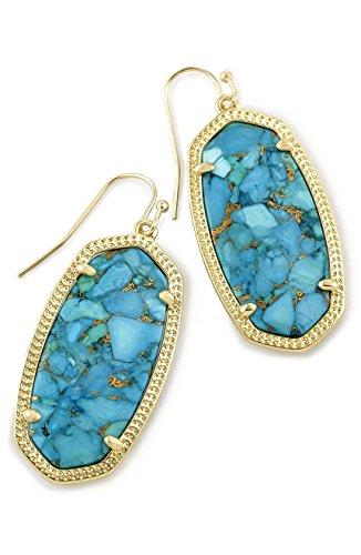 Kendra Scott Elle Filigree Drop Bronze Veined Turquoise/ Gold Earrings
