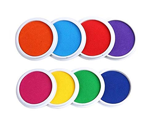 Washable Rainbow Stamp Pad - Laojbaba Craft Large Ink Pad Stamps Partner DIY Color,8 Colors Rainbow Finger Ink pad for Kids (Pack of 8)
