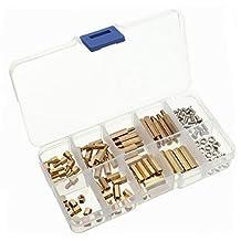 Yosoo 120pcs M3 Copper Brass Pillars Standoff Circuit Spacer PCB Board Nut Screws Hex Round Single Cylinder Head