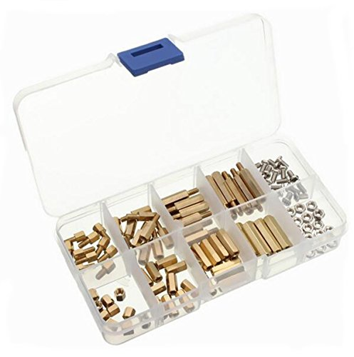 Yosoo 120pcs m3 male female hex brass spacer standoff screw nut bolt motherboard assortment kit