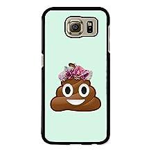 Emoji Poo Poop Flower Crown on Turquoise case for Samsung Galaxy S6