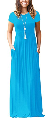 Viishow Women's Short Sleeve Loose Plain Maxi Dresses Plus Size Casual Long Dresses with Pockets (3XL, Nile Blue)