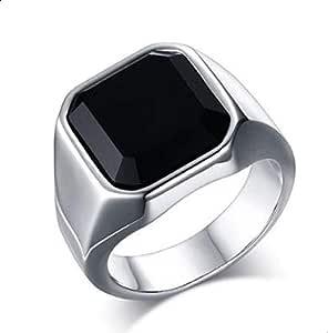 خاتم فضة للرجال مع حجر زرافة سوداء مقاس 10