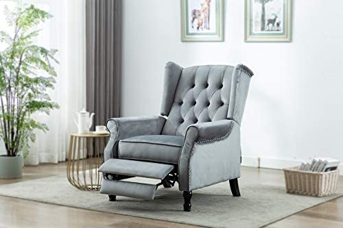 Artechworks Velvet Tufted Push Back Arm Accent Chair Recliner Single Reclining for Adjustable Club Chair Home Padded Seating Living Room Lounge Modern Sofa,Grey