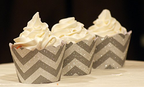 All About Details Chevron Silver Glittered Cupcake Wrappers, Set of 12