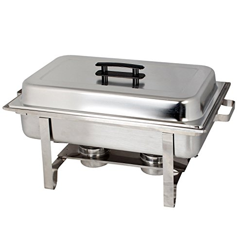 (Tiger Chef 8 Quart Full Size Stainless Steel Chafer with Cool-Touch Plastic on top chaffing dish)