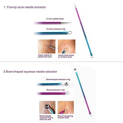 ZIZZON Blackhead Remover Kit Pimple Comedone Extractor Tool Set Treatment for Blemish, Zit, Acne Whitehead Tweezers Kit…