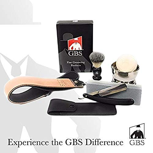 "GBS Straight Razor Shaving and Beard Grooming set/Kit - Honing/Sharpening Stone, 2"" Leather Strop, Shaving Bowl & Soap, Badger Shaving Brush, Wood Straight Razor + Travel Case For Best Wet Shave"