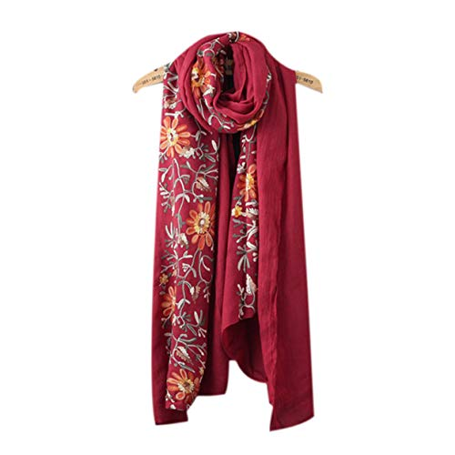 (Women's Retro Scarf Smooth and Soft Scarves Embroidered Lightweight Shawl)