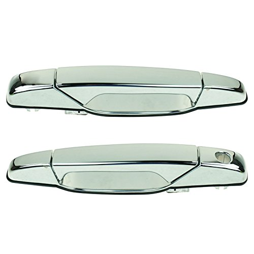 (Front Chrome Outer Outside Exterior Door Handle Pair Set for Chevy GMC Pickup)