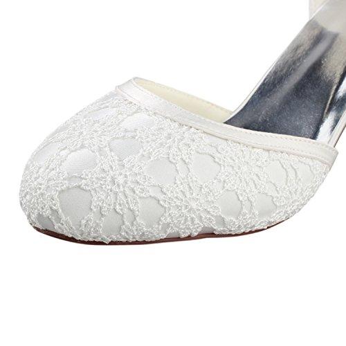Chunky Goma Zapatos CM Best Verano de Zapatos boda Noche las de redonda de Una 6 de punta Banquete Tacones Encaje KUKIE de Novia Primavera mujeres Hebilla 5 EU35 4U® de Sandalias w1aPEwn6q