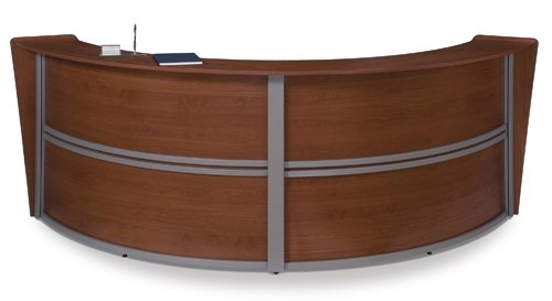 Ofm Curved Receptionist Desk | Double-Unit Station Dimensions: 121.25''W X 48.5''D X 45.5''H 28.75'' Work Surface Height, 19.75'' Work Surface Depth 44.50'' Transaction Top Height - Cherry