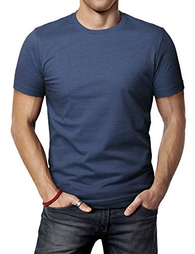 H2H Men's Basic Classic Fitted Fine Cotton Blended Premium Crew Neck DARKBLUE US 3XL/Asia 4XL (CMTTS0198)