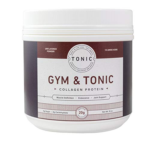 TONIC Gym Tonic Collagen Powder Alternative to Whey Protein Powder, Paleo Keto Friendly, Muscle Building, Bulletproof Collagen, Unflavored, 20 Servings