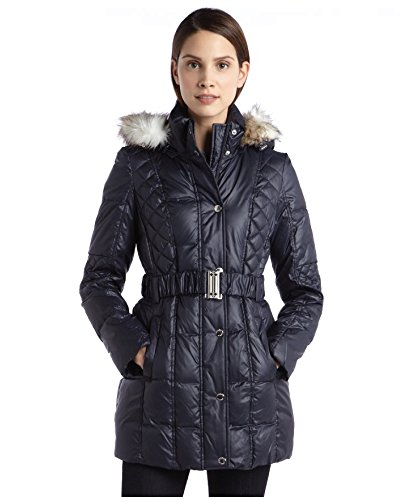 Laundry By Design Faux Fur Trim Belted Puffer Coat (X-Large, Mystic Blue)