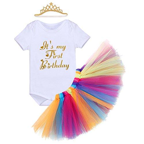 Little Girl 1st Birthday 3PCS Outfit Skirt Tutu Onesie Headband Romper Cake Smash Crown Princess Costume Christmas Dress #2 White 12-18 Months