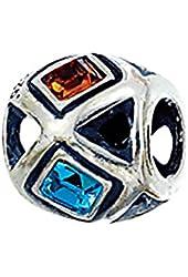 Zable Sterling Silver Multi-Color Square Crystals Bead