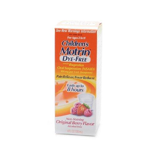 Children's Motrin Ibuprofen Oral Suspension, Dye-Free Berry Flavor Liquid 4 oz (120 ml)