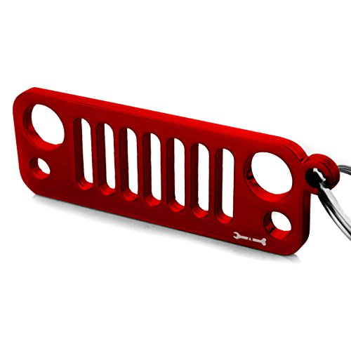 Nice Key Chain for Your Jeep Wrangler - JK JKU JL Grille Laser-Cut 304 Stainless Steel Keychain - Will Never Rust, Bend or Break! for Jeep Wrangler Accessories Enthusiasts (Red) for cheap