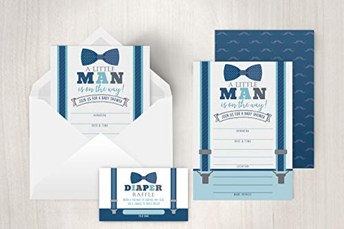 Little Man Baby Shower Invitations, Boy Baby Shower Invites with Diaper Raffles Cards, Bow Tie and Mustaches, Sprinkle, 20 Invites Including Envelopes by Your Main Event (Image #1)