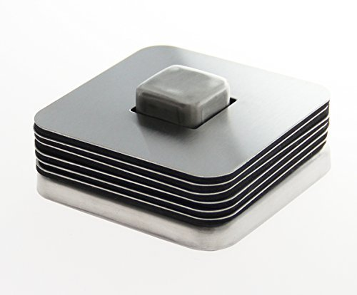 6-Piece Quality Stainless Steel Coaster Set with Holder - Square Disk