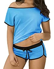 Pajama shorts - cotton - turquoise color - women