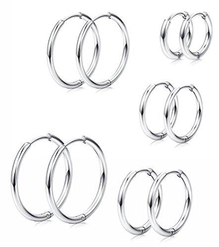 Earrings Silver Ring (Milacolato 5Pairs Stainless Steel Basic Endless Hoop Earrings for Mens Womens Cartilage Piercing Nose Tongue Body Ring 8-16mm Silver)