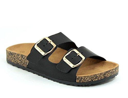 (Women's Flat Casual Soft Cork Slides Sandal Double Adjustable Buckle Strap Slip on Summer Shoes Black 8)