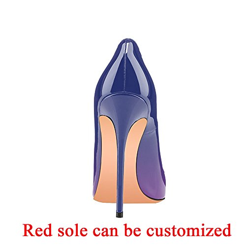 Evening Modemoven Wedding High Pointy Stilettos Shoes Party Slip Women's Large Pumps Heels Purple Toe Size On Gradient 7x7AwRB