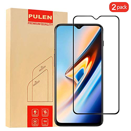 [2-Pack] Pulen OnePlus 6T Screen Protector 2018,Full Screen Coverage Anti-Scratch Less Fingerprints Easy Installation 9H Tempered Glass Film for OnePlus 6T(Black)