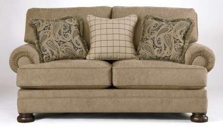 Ashley Keereel Collection 3820035 78″ Loveseat with Fabric Upholstery Rolled Arms Nail Head Accents and Traditional Style in