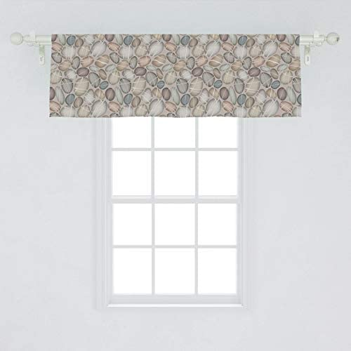 Ambesonne Stone Window Valance, Abstract Different Coastal Pebblestones Flints Themed Illustration Print, Curtain Valance for Kitchen Bedroom Decor with Rod Pocket, 54 X 18 , Pale Grey