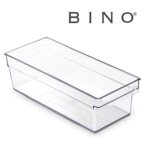 BINO Clear Plastic Storage Bin with Built-In Pull Out Handle – (Standard, Medium) – Storage Bins for Home, Kitchen, and Bath – Refrigerator, Freezer, Cabinet, Closet, Pantry Organization and Storage