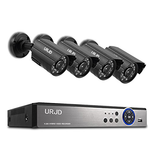 Security Camera System, URJD 720P HD Security DVR Kit, Home Surveillance Camera System with 3 Hours Safe Power-off Protection