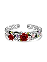 Bling Jewelry Red Resin Rose CZ Ladybug Cuff Bracelet Rhodium Plated 7.5in