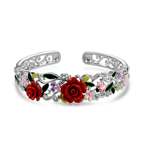Bling Jewelry Red Resin Rose CZ Ladybug Cuff Bracelet Rhodium Plated 7.5in (Ladybug Resin)