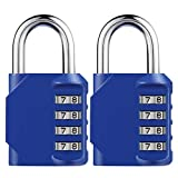 KeeKit Combination Lock, 4 Digit Combination Padlock, Weatherproof Outdoor Gate Lock, Locker Lock for School, Gym, Employee, Combination Lock for Case, Toolbox, Hasp Cabinet and Storage, 2 Pack, Blue
