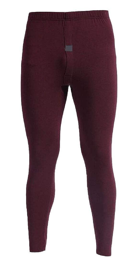Macondoo Men Soft Warm Stretch Fleece Slim Thick Solid Johns