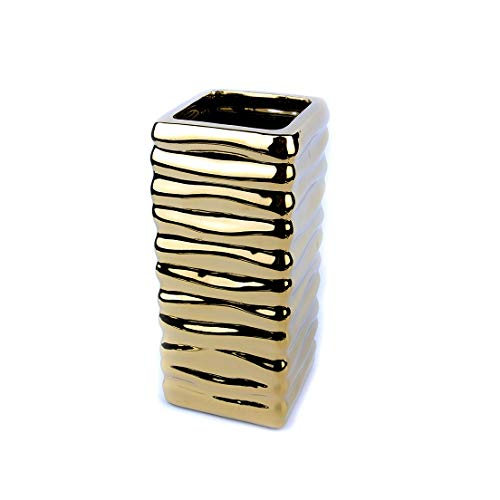 MaxFlowery Sale-Gold Electroplated Square Ceramic Table Vase with