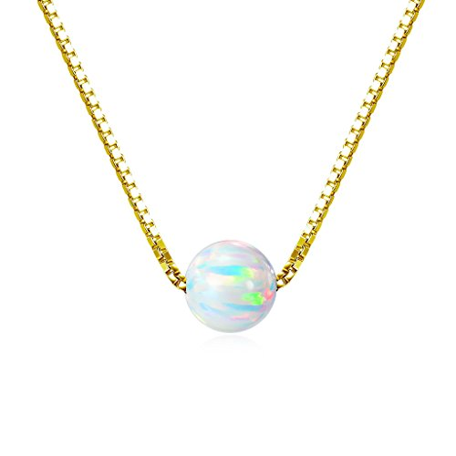 Gold over Sterling Silver 6mm Created Opal Choker (Created Opal Jewelry)