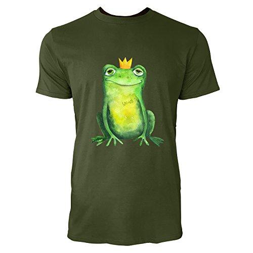 SINUS ART® Süßer Frosch mit Krönchen im Aquarell Stil Herren T-Shirts in Armee Grün Fun Shirt mit tollen Aufdruck