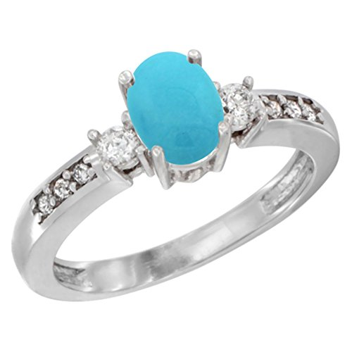 14K White Gold Diamond Natural Turquoise Engagement Ring Oval 7×5 mm, sizes 5 – 10