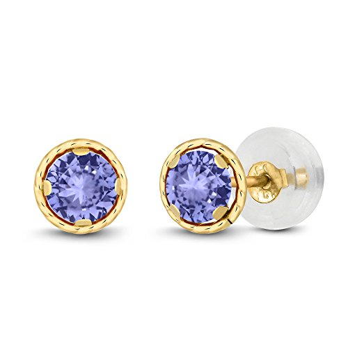 14K Yellow Gold Blue Tanzanite Women's Stud Earrings (0.60 cttw, 4MM Round Cut) 14k Yellow Gold Tanzanite Stud Earrings