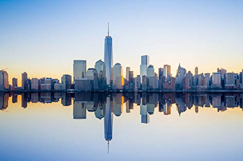 New York City, New York - One World Trade Center and Skyline with Reflection - Photography A-92021 (9x12 Fine Art Print, Home Wall Decor Artwork Poster) (New York Skyline One World Trade Center)