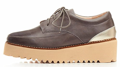 Oxfords 5 Juniors up Wedges Heel lite Leather Lace Shoes Grey Vintage Platform Womens U cm vEq7tww